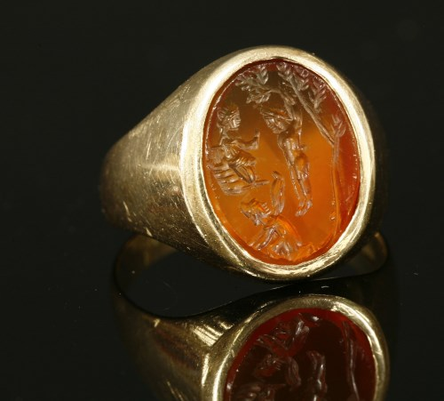 Lot 22-A gentlemen's mid to late 20th century gold intaglio signet ring