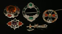 Lot 57-Assorted Victorian Scottish silver specimen hardstone and pebble brooches