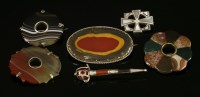 Lot 50-Six assorted Scottish silver hardstone or pebble brooches