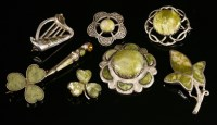 Lot 59-Assorted Scottish silver Iona marble brooches