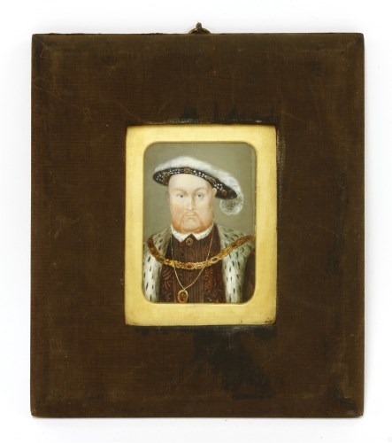 Lot 706-19th century follower of Hans Holbein PORTRAIT OF HENRY VIII Miniature on ivory 11 x 7cm