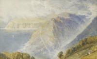 Lot 716-Myles Birket Foster RWS (1825-1899) A MOUNTAINOUS COASTAL LANDSCAPE Signed with monogram l.r.