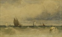Lot 727-William Roxby Beverley (1811-1889) FISHING BOATS IN A SWELL Signed l.r.
