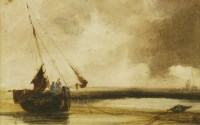 Lot 730-Charles Bentley OWS (1806-1854) A BEACHED FISHING VESSEL WITH AN APPROACHING STORM Watercolour 15.5 ...