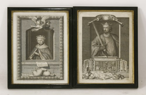 Lot 702-After George Vertue KINGS AND QUEENS OF ENGLAND Eighteen engravings plate mark 30 x 19.5cm (18)