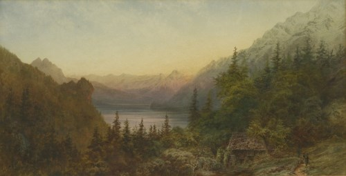 Lot 719-Arthur Croft (1828-1902) ALPINE LAKE LANDSCAPES A pair