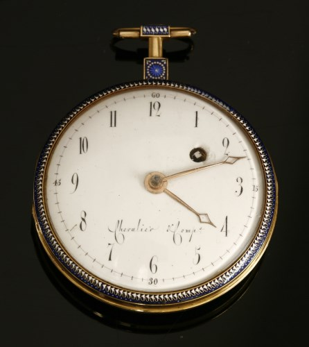 Lot 17-An 18ct gold key wound enamelled open faced pocket watch