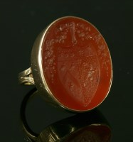 Lot 21-A gold intaglio carved cornelian ring