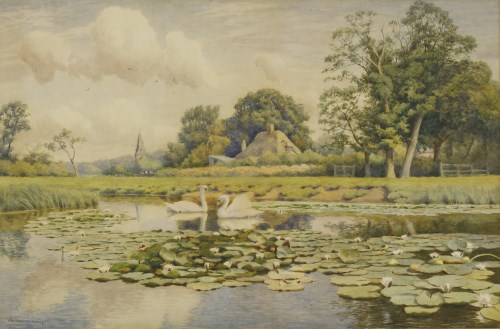 Lot 715-William Sidney Cooper (1854-1927) 'THE THAMES NEAR WHITCHURCH' Signed and dated 1904 l.l.