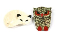 Lot 44-A Lea Stein cream celluloid sleeping cat brooch with black eyes and ears