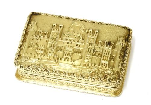 Lot 1 - A silver gilt castle top vinaigrette