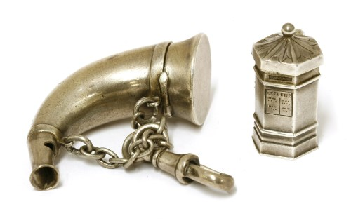 Lot 9-A silver hunting horn-shaped whistle and vinaigrette