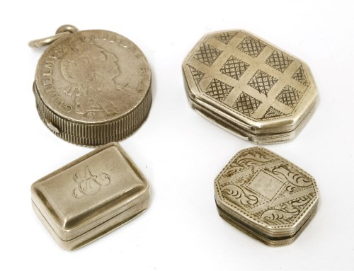 Lot 13-Four small silver vinaigrettes