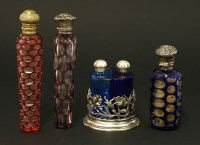 Lot 26-Three bohemian flash-dipped glass scent bottles