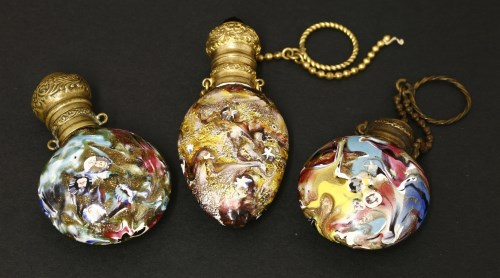 Lot 25-Attributed to Pietro Bigaglia: three Venetian aventurine glass scent bottles