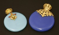 Lot 81 - Two Victorian blue glass scent bottles
