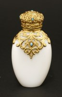 Lot 82 - A Victorian opaline glass scent bottle