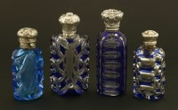 Lot 87 - Three Bohemian blue and clear glass scent bottles