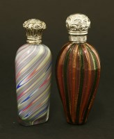 Lot 85 - Two coloured glass scent bottles