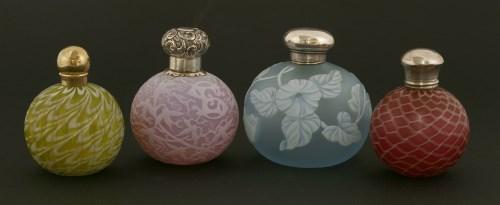 Lot 75-Four coloured glass scent bottles