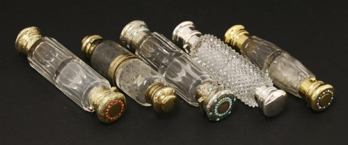 Lot 62-Five Victorian glass double-ended scent bottles