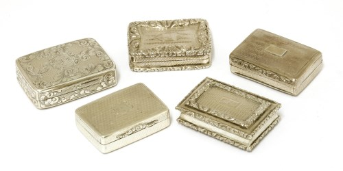 Lot 36 - Five early 19th century silver vinaigrettes