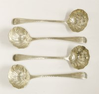 Lot 171 - A set of four Victorian silver bead pattern sauce ladles
