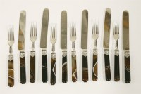 Lot 173 - Six pairs of Victorian silver and agate-handled fruit knives and forks