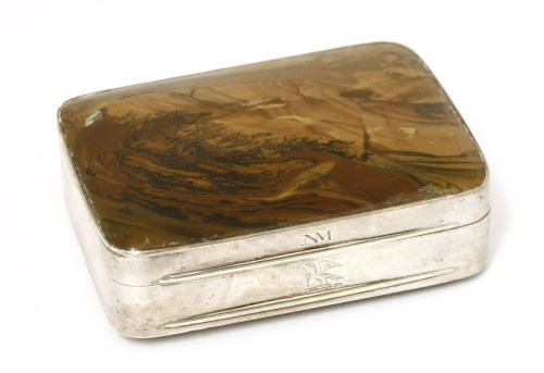 Lot 40-An unmarked 18th century silver and polished brown agate snuff box