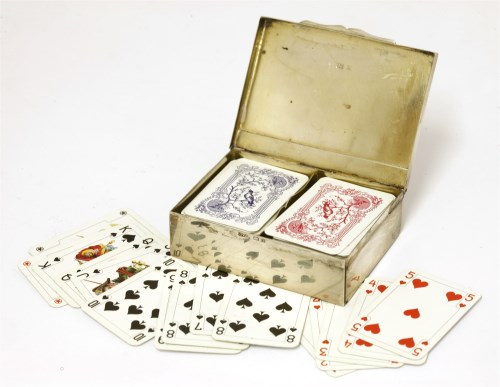 Lot 44-An Edwardian novelty silver miniature playing card box