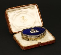 Lot 59 - An unusual Edwardian silver gilt lapiz and enamel snuff box