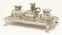 Lot 200 - A Victorian silver desk stand