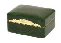 Lot 201 - A malachite and gold miniature dressing table box
