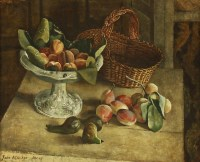 Lot 1001-*John Aldridge RA (1905-1983) STILL LIFE OF FRUIT AND A BASKET ON A TABLE Signed and dated 'Sept '49' l.l.