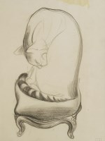Lot 1021-*John Aldridge RA (1905-1983)  STUDY OF A CAT SITTING ON A STOOL WASHING Stamped with initials