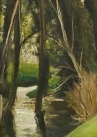 Lot 1005-*John Aldridge (1905-1983) TREES IN A STREAM Inscribed verso