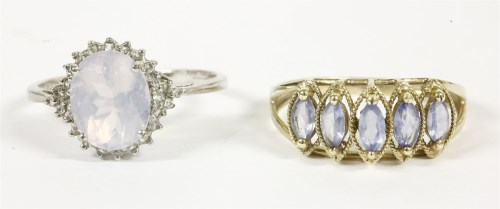 Lot 9-A 9ct white gold milky quartz and white stone cluster ring
