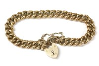 Lot 29-A 9ct gold hollow curb link bracelet with padlock