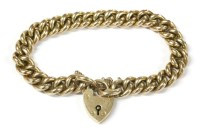 Lot 19-A 9ct gold Deakon & Francis hollow curb link bracelet with padlock