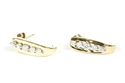 Lot 20-A pair of 9ct gold diamond set earrings
