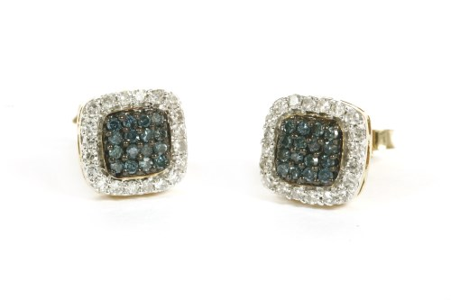 Lot 3-A pair of gold radiated blue diamonds and diamond cushion shaped cluster earrings