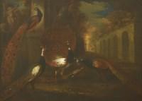 Lot 747-Marmaduke Cradock (c.1660-1717) AN OSTENTATION OF PEACOCKS Oil on canvas 63 x 77cm