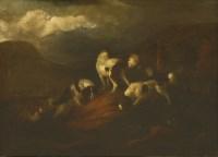 Lot 748-Adrian Beeldemaeker (1625-1701) SPANIELS IN A ROLLING LANDSCAPE Signed l.r.?