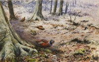 Lot 746-*George Edward Lodge (1860-1954) PHEASANTS IN A WINTER WOODLAND Signed and dated 1950 l.r.