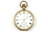 Lot 35-A Waltham rolled gold open faced pocket watch
