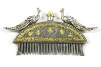 Lot 50-A Mughal style silver and silver gilt beard comb