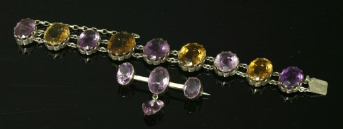 Lot 31-A late Victorian silver amethyst and citrine bracelet