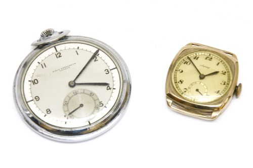 Lot 1-A white metal open faced pocket watch