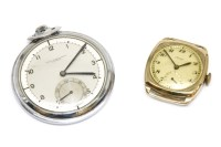 Lot 1A-A white metal open faced pocket watch