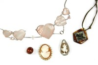 Lot 37-A Christian Dior pink shell heart centrepiece necklace